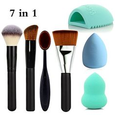 MLMSY 7 Piece Full Makeup Brush Set with Foundation BrushPowder brush Oval Toothbrush Curve Brush Flat Contour Makeup Brush Makeup Sponge Brush and Brush Cleaner 7 Piece -- Click image to review more details. (Note:Amazon affiliate link)