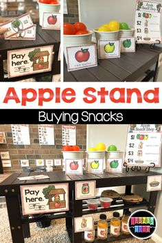 Set up an apple orchard and stand with this red delicious snack shop! Students can purchase apples, applesauce, apple cider, and apple pies that were made from scratch in the kitchen of this apple dramatic play set for preschool! #preschool #preschoolactivities #toddleractivities