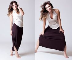 Skirt Pants, Brown, Black, Gray, Harem Pants, plus size, Drop Crotch, Long Classic Design