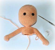 Free Amigurumi Tutorial--how to make a doll in one piece. In other words, you start with the head and then you work the other parts off of it.