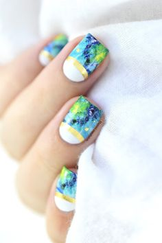 How To: Marble and Foil Nail Art || Marine Loves Polish - half moon nails - summer nail art