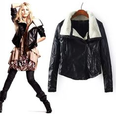 Fashion Long Sleeve Solid Color Warm PU Leather Coat