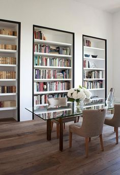 Graphically apartment in Paris, interior, design Parisian Apartment, Apartment Interior, Living Comedor, Bookshelves Built In, Bookcases, Built Ins, Home Libraries, Plywood Furniture, Best Interior