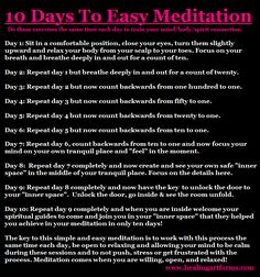 10 DAYS TO EASY MEDITATION: Meditation is all about calming down the mind and body to allow for your inner voice to come shining through, connect in with your guides and listen to that inner knowledge!  New healing tips we will be sharing here all month long working with the chakras, auras, grounding, centering, different types of cleansings working with energy flushes and nature elements and much more. If you have any problems with this in your energy fields and would like for us to help…