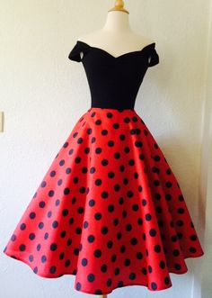 Red Polkadot ROCKABILLY Swing Dress Capped by MoonbootStudios