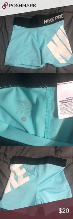 Baby blue nike pros Baby blue nike pros  NWOT size small ❗️❗️EVERYTHING MOST GO ❗️❗️ Nike Shorts