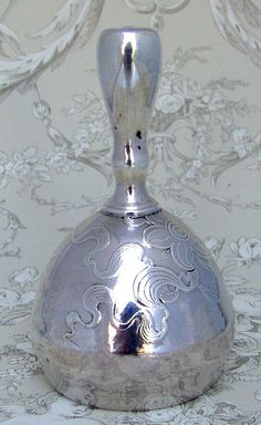 Art Nouveau, Table Bell, Acid Etched Floral ,Whiting, 1890 Sterling Silver. (On ruby land & it'll run ya 450 big ones)