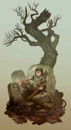 Trotter. A crabby halfling chilling under a tree with tomb stones. by JonHodgson on DeviantArt