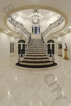 Luxury Staircase, Grand Staircase, Staircase Design, Staircase Ideas, Modern Staircase, Dark Staircase, Double Staircase, Stair Design, Foyer Ideas