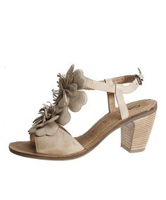 Look what I found on #zulily! Beige Floral Leather Sandal by Gabor #zulilyfinds