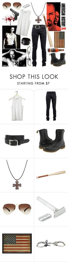 """""""American History X"""" by aquabatgirl ❤ liked on Polyvore featuring Pull&Bear, Naked & Famous, Dr. Martens, Gavello, Hermès, Ray-Ban, Bey-Berk, Smith & Wesson, Yves Saint Laurent and men's fashion"""