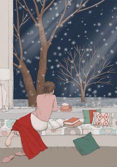 Winter Illustration, Illustration Girl, Gifs, Beautiful Gif, Aesthetic Gif, Anime Scenery, Anime Art Girl, Watercolor Print, Cartoon Art
