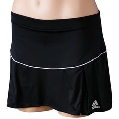 """Adidas Women's Tennis Essentials Skort-M by adidas. $38.00. CLIMALITE soft, lightweight, fabric for superior moisture management. Built-in short tight. 1"""" elastic waistband. Front length: 12.5"""". Back length 13.5"""". 100% polyester interlock. Color: Black/White."""