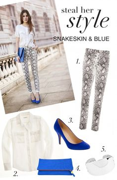 Ultra feminine Outfit with a dose of edge–thanks to those snakeskin pants. Michael Kors Python Print Stretch Cotton Trousers or Zara Snake Print Trousers J.Crew Blythe Blouse in Silk J. Her Style, Snake Skin, Passion For Fashion, Spring Summer Fashion, Style Guides, Dress To Impress, Chic, What To Wear, Cool Outfits