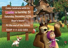 Masha and the Bear Birthday Invitation - You PRINT by SalensSVR on Etsy
