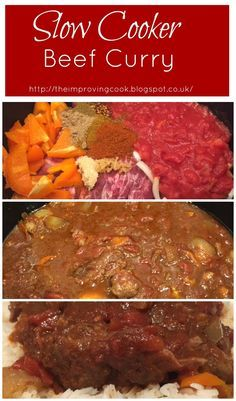 The Improving Cook: Slow Cooker Beef Curry recipe. Beef curry cooked in the slow cooker. Great for batch cooking and  freezer meals.
