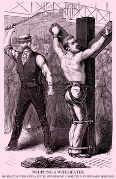 """MAGAZINE: Police Gazette - illustration - Whipping A Wife Beater."""""""