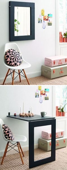 DIY Fold down dining table - great idea for small spaces - http://www.homedecoz.com/home-decor/diy-fold-down-dining-table-great-idea-for-small-spaces/