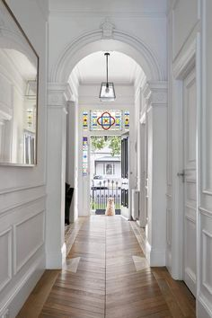 "Breathtaking transformation of double fronted freestanding Victorian residence by Kirsty Ristevski Architects: Kirsty Ristevski Location: Albert Park Village, Melbourne, Australia Year: 2017 Photo courtesy: Tom Roe Description: ""Only just completed, the b Style At Home, Modern Victorian Homes, Victorian House, Victorian Architecture, Victorian Hallway, Albert Park, Hallway Designs, Hallway Ideas, Entry Hallway"