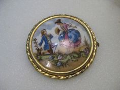 Victorian Limoges France Painted Courting Brooch, Trombone Clasp, Porcelain #LimogesFrance