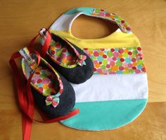 Denim baby shoes  and bib  polka by CaterinaMorelli on Etsy