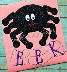 Halloween Spider EEK Applique - 4 Sizes! | Words and Phrases | Machine Embroidery Designs | SWAKembroidery.com Creative Appliques