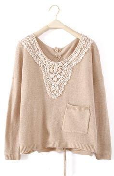 Beige Long Sleeve Lace Drawstring Pocket Sweater
