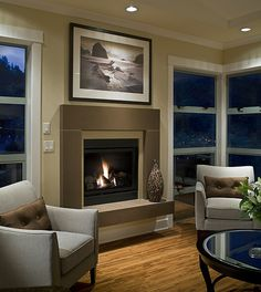 Truffle Span Cast Concrete Fireplace Mantel    With tiled floating hearth