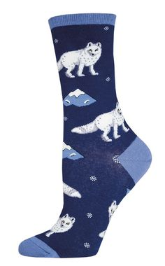 The Joy of Socks - Navy Arctic Fox Socks (Women's), $7.50 (http://www.joyofsocks.com/navy-arctic-fox-socks-womens/)