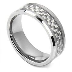 King Will 8mm Tungsten Carbide Ring White Carbon Fiber Inlay Beveled Edge Comfort-fit Men's Wedding Band