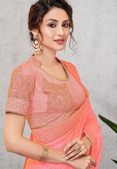 traditional pink silk with cord embroidered saree 11403 Pink Silk, Saree Wedding, Work Fashion, Girl Photos, My Girl, Pattern Design, Ruffle Blouse, Indian, Traditional