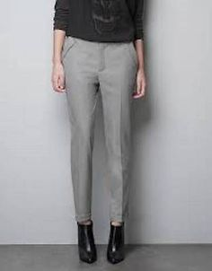 ZARA black white houndstooth ankle cropped cuffed trousers pants size Small NWOT