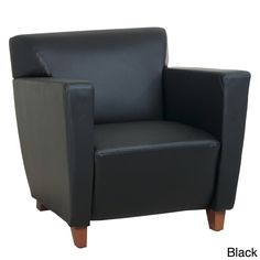 Office Star Products Black Leather Club Chair | Overstock.com Shopping - The Best Deals on Visitor Chairs