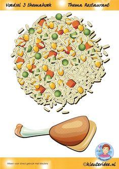 Voedsel 3 themahoek,printen en lamineren,  thema restaurant, juf Petra van kleuteridee.nl, Restaurant role play,food,  free printable