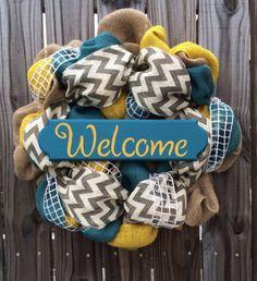 Burlap Welcome Wreath - Turquoise, Yellow and Gray Chevron Wreath  #HandmadebyKristinatMyDecoratedDoor