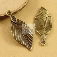 ( 50 шт./лот ) античные бронзовые позолоченные металлического сплава винтажный стиль лист подвески ювелирные изделия hd1635