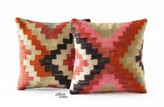 SET 2 Piece Vintage Hand Woven Kilim Pillow Cover  by pillowcome, $89.00