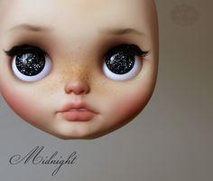 Medianoche - unicornio nocturna, blythe ooak por KarolinFelix #blythe #customblythe #ooakblythe