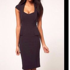New Classy & Elegant Pencil Dress! Black color. Peplum. Cap sleeve. Form fitting. Great for any occasion! Dresses Midi