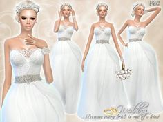 The Sims Resource: Wedding Dress Endless Elegance by Pinkzombiecupcake • Sims 4 Downloads