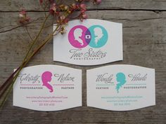 #businesscard #photographer #typography Two Sisters Photography business card by Fizz Creative via thebeautyofletterpress.com. These 3 combined are totally awesome. They have their very own and one that truly combines both of their cards together.
