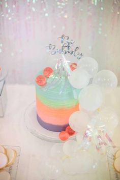 """Be Bubbly Cake with balloon bunting from an Iridescent """"Be Bubbly"""" Birthday Party on Kara's Party Ideas   KarasPartyIdeas.com (22)"""