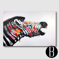 This animal friendly Zebra wall art will perk up any wall with joy and color. Sold at US$79.99