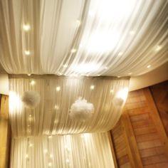 「チュールポンポン」はふわっふわでメルヘンチック♡紙の代わりに、チュールで作るポンポンが可愛いすぎるんです。 Ceiling Draping, Ceiling Lights, Dorm Room, Bed Room, Backdrops, Backdrop Ideas, Wedding Decorations, Room Decorations, Chandelier