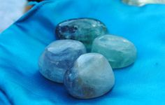 Fluorite crystal tumbled stones medium size great colors and inclusions by GladStonesNSage on Etsy