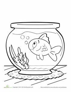 Fish Bowl Coloring Page