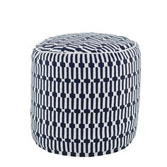 This 100% PET indoor/outdoor pouf features an eye-catching graphic print in bright, happy colors that coordinate with our Palm Springs collection. Perfect for both indoor and outdoor use, this round pouf is a stylish way to add comfortable seating to the porch, patio, living room, and every space in between.   • 100% PET shell, removable for cleaning; liner filled with polystyrene beads.