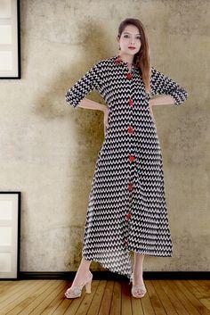 Anuswara Black Color Cotton Embellished Calf Length A Line Style Kurti Shrug For Dresses, Short Sleeve Dresses, Maroon Color, Pink Color, Collar Kurti, Black Kurti, A Line Kurti, Indian Fashion, Dress Skirt