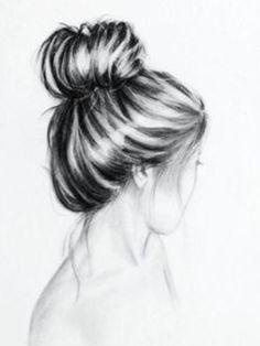 Girl looking away hair in bun (drawn on computer) by ArtxstSahar ...