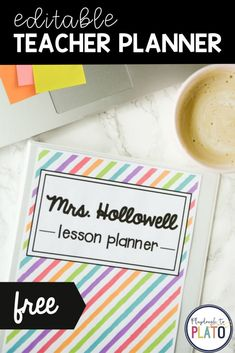 The best editable, free, printable teacher planner - perfect for in-person teaching or distance learning and homeschooling! There are schedule and organization pages that will help you stay organized all school year long. Since it's editable you can use it as an online digital version or print it off to make notes. This teaching planner will be a go to teacher resource! #teacherresources #plannersforteachers #freeplanner